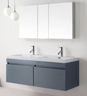 double bathroom sink vanity. 55  Jasmine Vanity in Grey Double Sink Vanities Bathroom