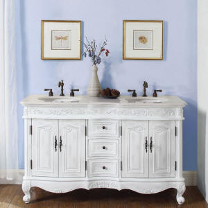 58 Inch DeRose Vanity   Space Saving Double Sink Bathroom Vanity Cabinet  With Crème Marfil Top And Undermount Ivory Ceramic Sinks