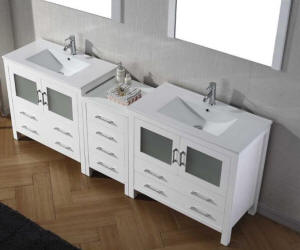 double sink vanity with center cabinet. The Malibu Double Sink Vanity available in Espresso  White or Grey cabinet color finish is built with ample organized storage space 80 inch and over Vanities Bathroom sink