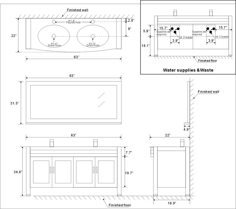 """Bathroom Vanity Cabinet Dimensions 63"""" amerigo vanity   63inch contemporary vanity   espresso double"""