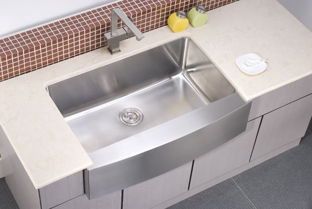 Dawn DAF3320C Bowed (curved) Front Kitchen Sink In Stainless Steel