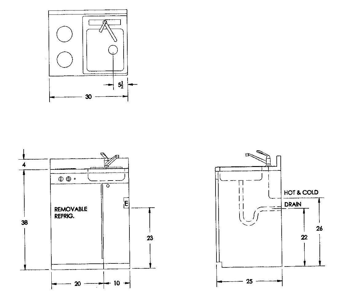 Compact kitchens ada handicap kitchens compact kitchen - Bathroom plumbing rough in dimensions ...
