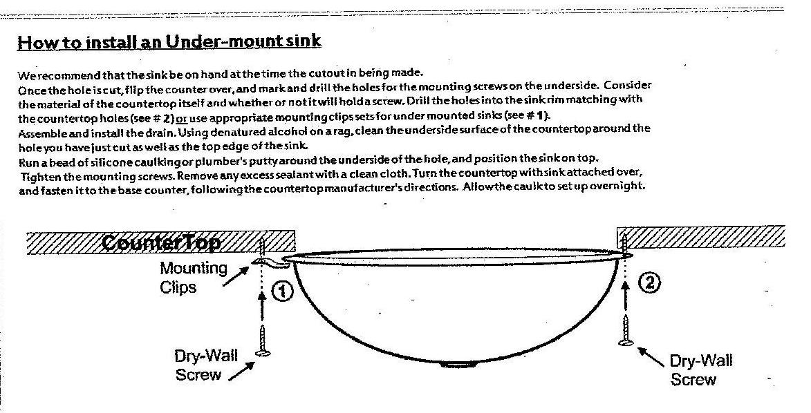Instructions For An Undermount Sink Installation
