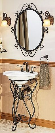 Single Sink Pedestals Bath Sink Consoles Wrought Iron Stands - Wrought iron bathroom vanity stand