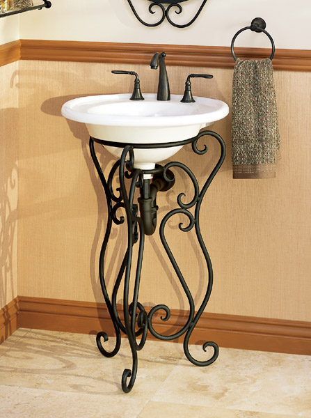 Bathroom Sink With Stand : ... Pedestal Stand with Sink - Solid Wrought Iron Pedestal Stand with Sink