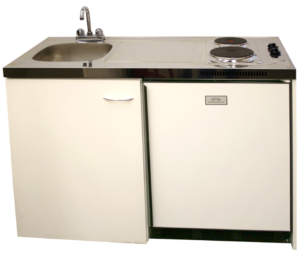 stainless steel sink with faucet refrigerator 2 electric sealed burners storage compartment stainless steel countertop 48 compact kitchen - Compact Kitchen Sink