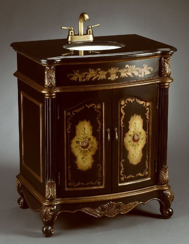 Antique reproduction handcrafted bathroom Sink Cabinet with Two Door  Storage Compartment and Floral Design - 28-Inch Lena Vanity Antique Reproduction Vanity 28-inch Sink Cabinet
