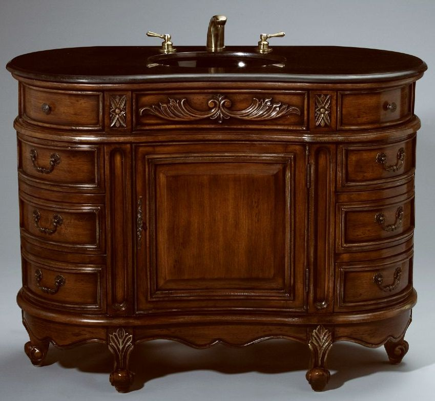 48inch Essa Vanity  Side Drawers Vanity  Carved Accents