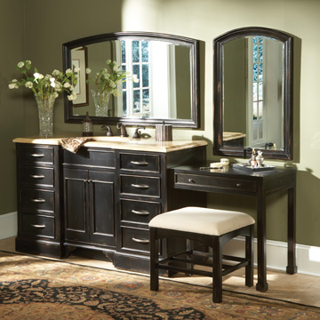 wide Seabrook Single Sink Vanity Set with 8 drawers 2 door storage compartment Make up seating and dressing area which includes a drawer for Makeup Tables Bathroom