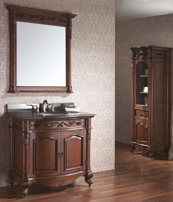 From Left To Right: 30u201d Harvard Vanity Set With Matching Set Linen Cabinet  And 36u201d Harvard Vanity Set Both In Rich Hand Crafted Cherry Wood Finish