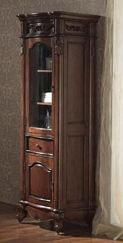 From The Harvard Collection Comes This Beautiful Distressed Antique Cherry Wood Finish With Hand Carved French Details Bathroom Linen Tower To Complete Your