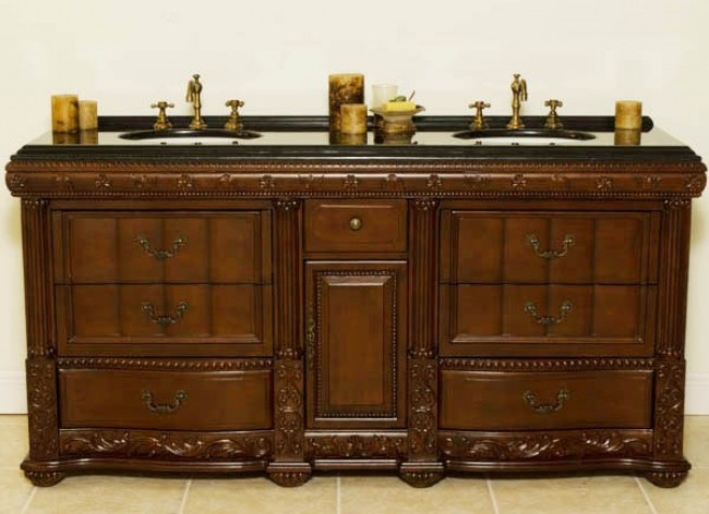 72 inch double sink vanity. 72-inch ozark double sink vanity in distressed mahogany wood finish shown with black granite top and bisque undermount bowls. size: 72w x 37.5h 21.5d 72 inch