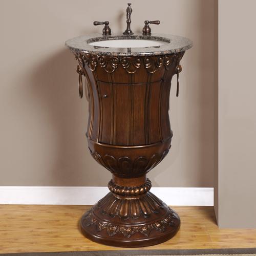 Pedestal Sink Vanity : 23 Inch Silvia Vanity Space Saving Vanity Pedestal Sink Vanity