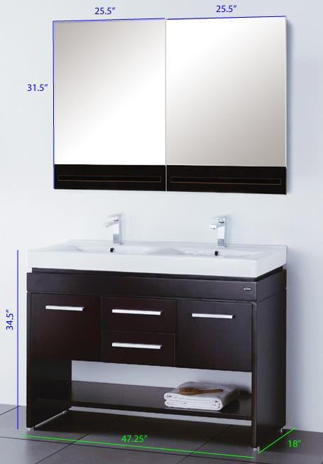 single sink double vanity. 47 5  Zelda Double Vanity Specs Contemporary Style Vanities Modern Bathroom
