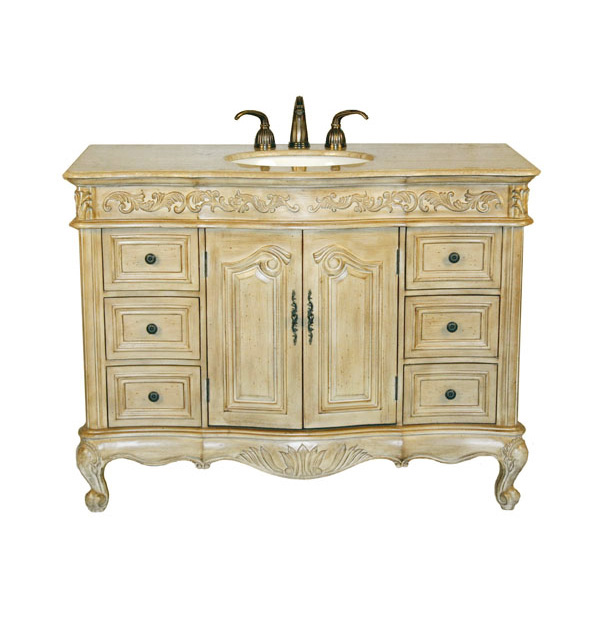 48 Inch Kriss Vanity Antique White Vanity Distressed Furniture Look