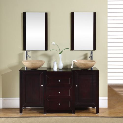 56 Inch Calista Vanity Travertine Vessel Vanity