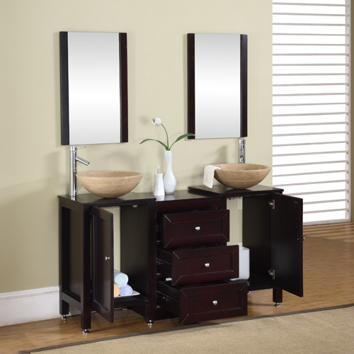56 Inch Calista Vanity | Travertine Vessel Vanity | Espresso Double Vanity