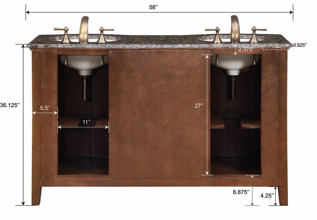 58 Inch Carnation Vanity Double Sink Chest Double Sink