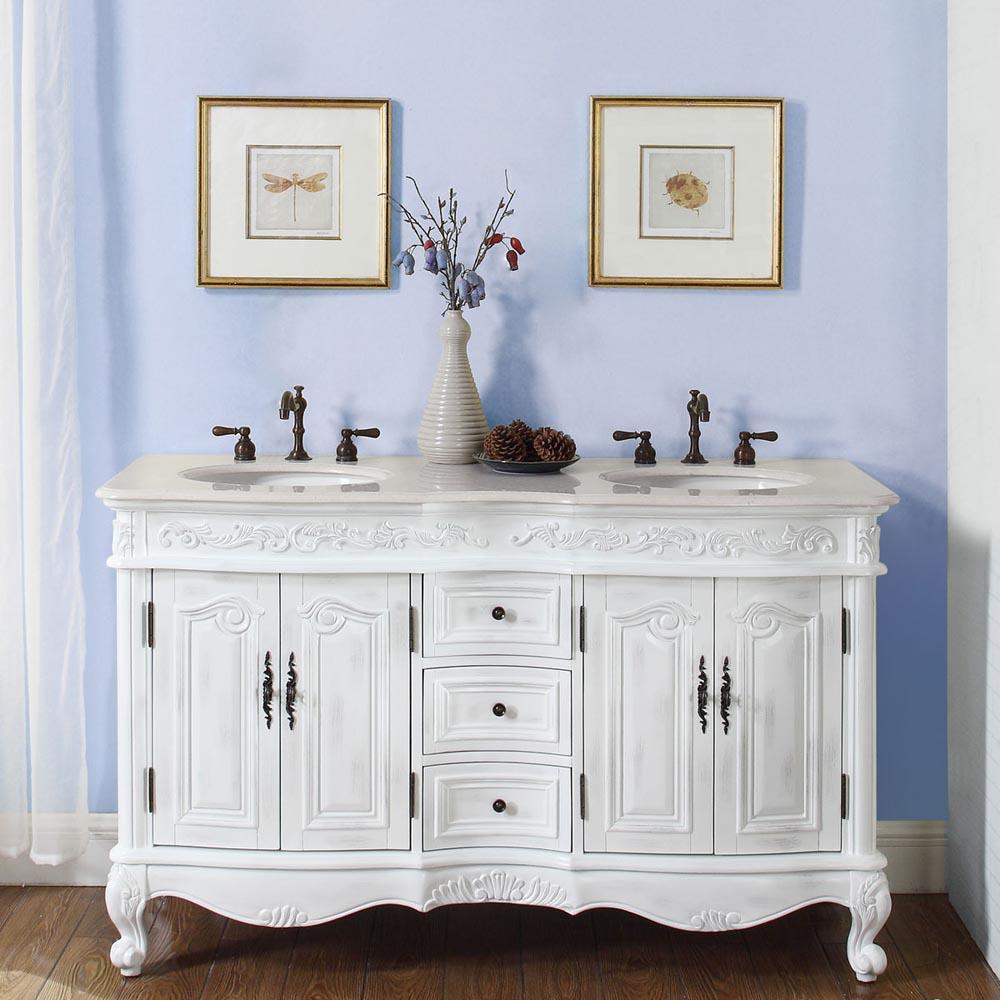 58in. DeRose White Vanity | 58inch Double Sink Chest | 58 White Bath ...