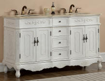 60 Silvana Vanity 60inch Double Sink Chest Antique White