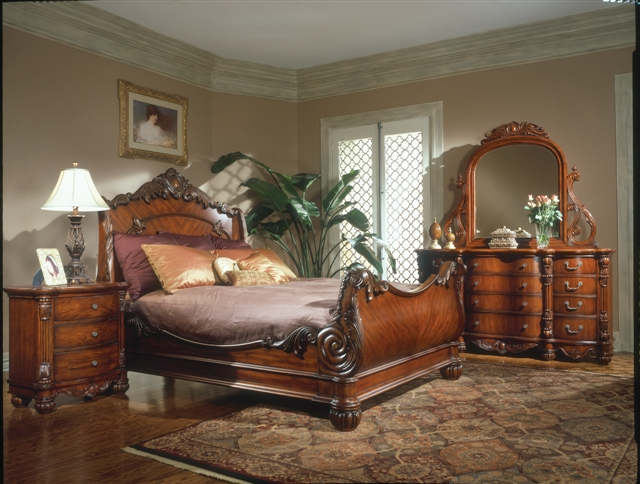 King Charles Bedroom Furniture Set Collection With Sleigh Bed