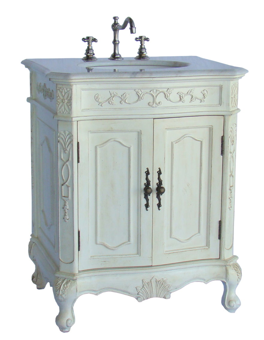 28 inch wide antique white distressed finish bathroom sink chest