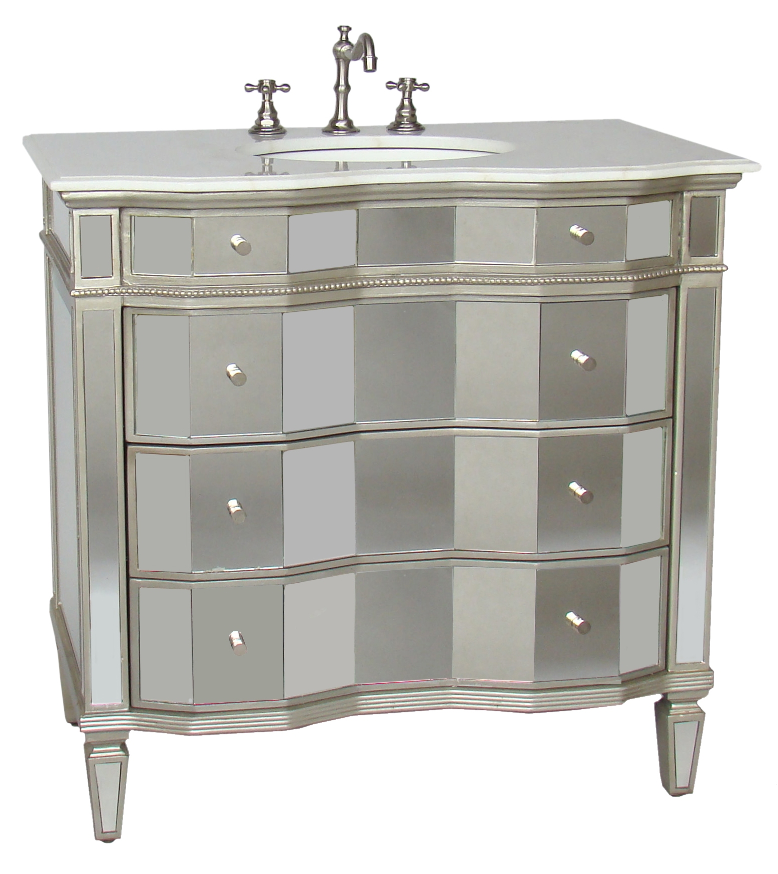 36 Inch Jamie Vanity Mirrored Sink Chest Mirrored Sink Vanity