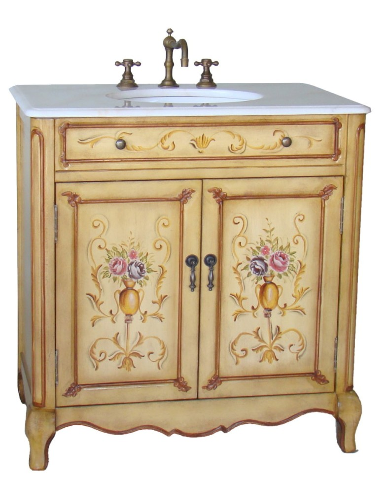 33 Inch Wide Camay Hand Painted With Fl Design Bathroom Vanity Sink Cabinet