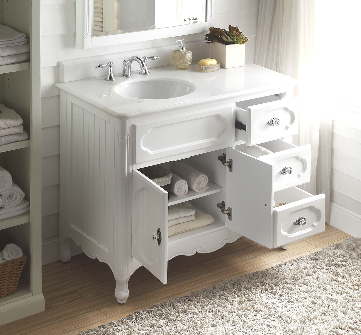 42in Haley Vanity   Left Sink Vanity   Summer Home Vanity