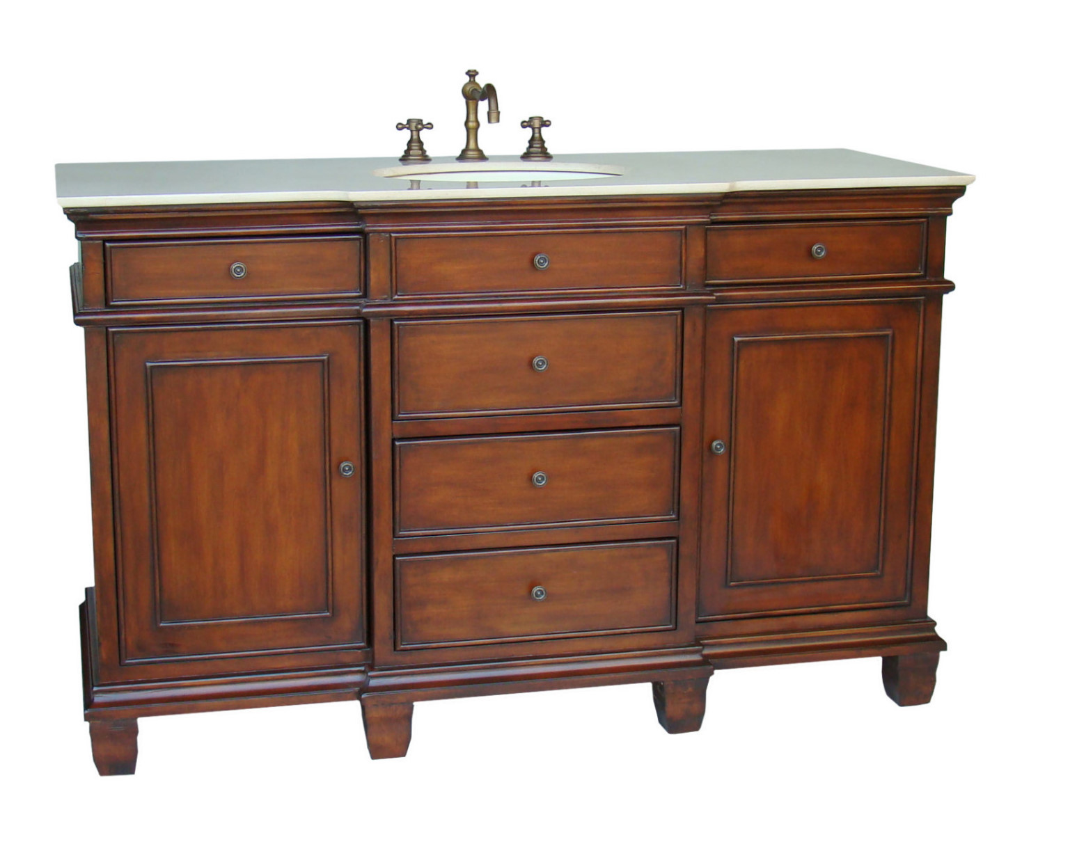 56-Inch Dunsmore Vanity Single Sink Vanity Chestnut Finish Vanity