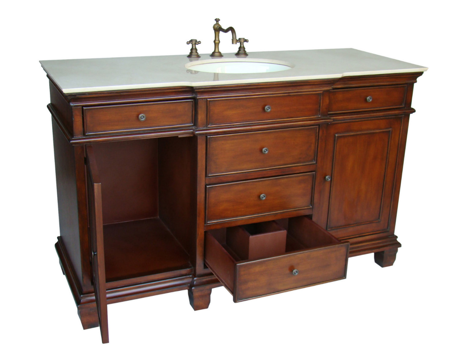 56 Inch Dunsmore Vanity Single Sink Vanity Chestnut