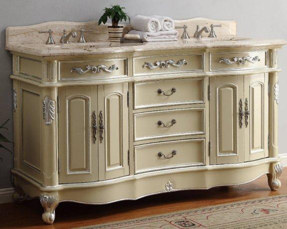 65inch Inyo Vanity Antique White, 65 Inch Bathroom Vanity Double Sink