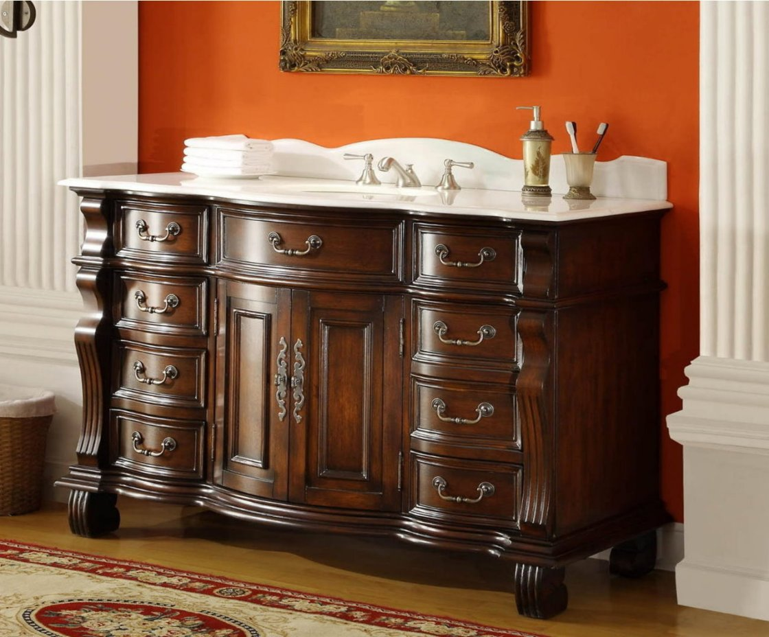 New Travertine Mable Top 60inch Single Sink Bathroom Vanity  Free