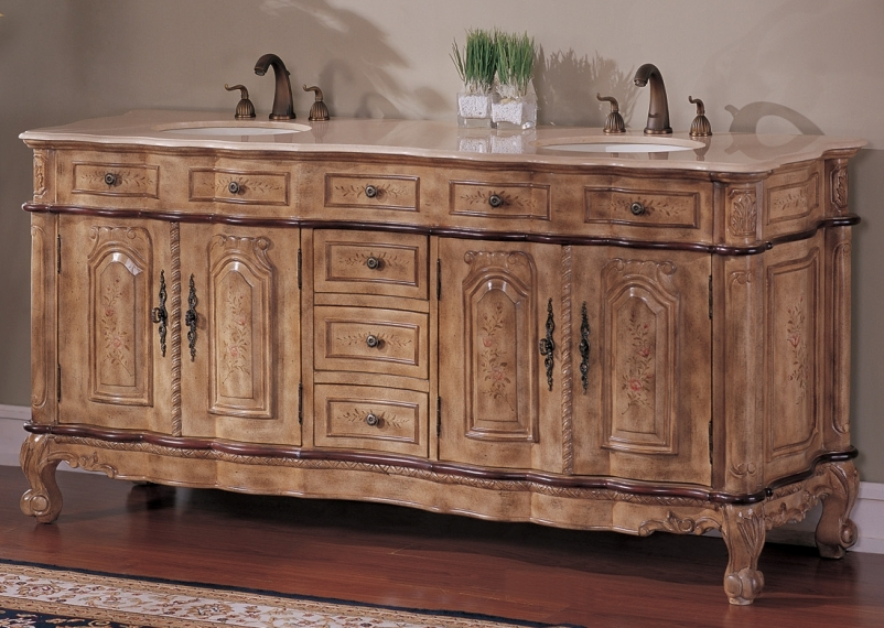 74 Inch Brittany Vanity 74 Double Sink Chest 74 Hand Painted Vanity