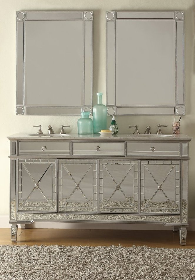 Mirrored Double Sink Vanity With Carrara Marble Top, Undermount Sinks And  Optional Matching Set Mirrored Frame Wall Mirrors.