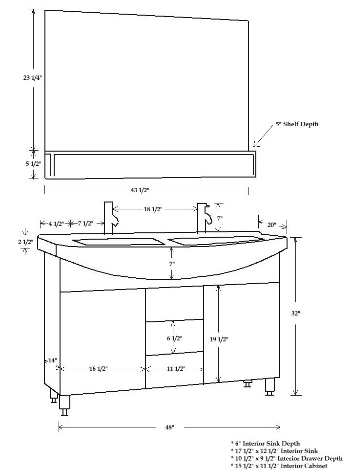 47 inch marina vanity space saving vanity compact double vanity - Kitchen sink specifications ...