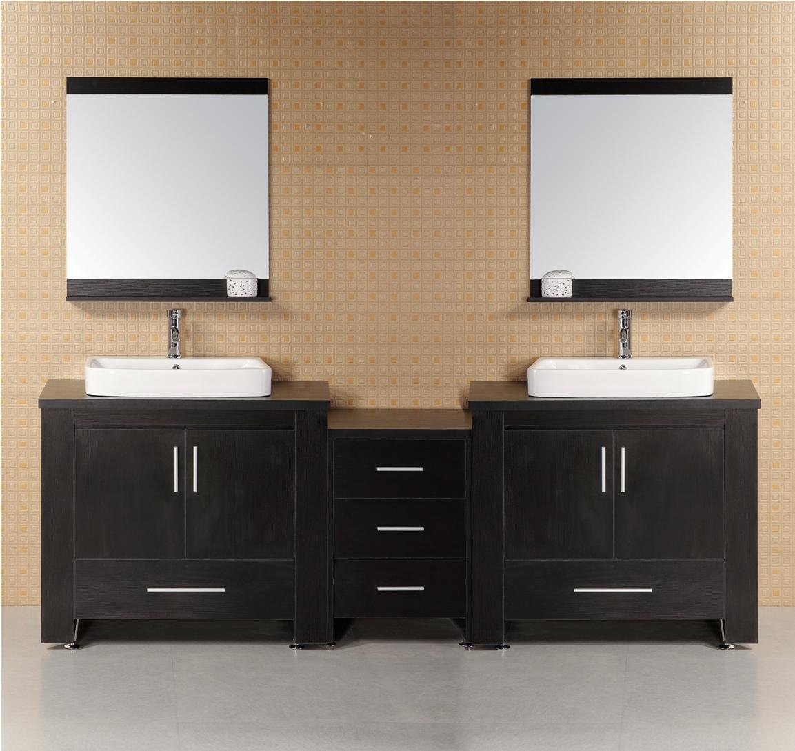 narrow double sink bathroom vanity.  96inch Shiva Vanity 96in Black Double