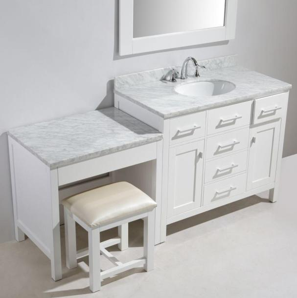 vanity countertop with sink. 72  KeyWest Single Sink Vanity complete with Makeup dresser Table Knee Drawer Bench Wall Mirrors and Natural Imported Carrara White Marble Stone Top Inch over Vanities Double Bathroom