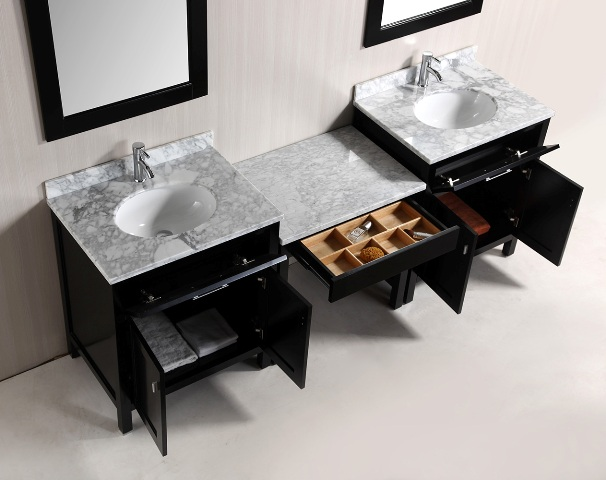 double sink vanity with makeup area. 90  Double Sink Vanity with Carrara White Marble Tops and Makeup Area in Cabinet color Finish Espresso KeyWest