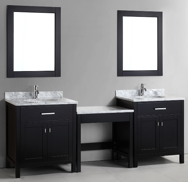 double bathroom vanity with makeup area. 90  Double Sink Vanity with Carrara White Marble Tops and Makeup Area in Cabinet color Finish Espresso KeyWest