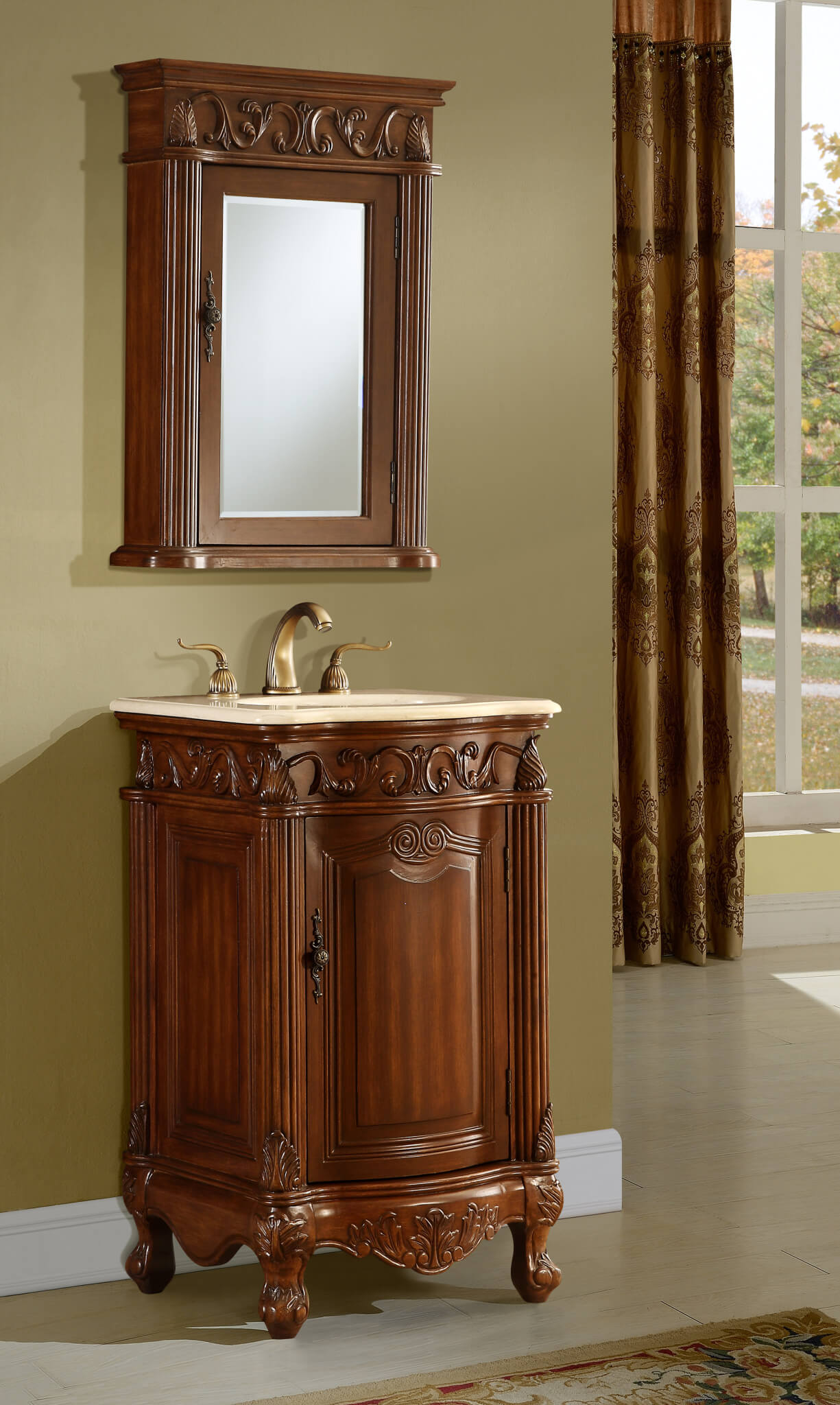 21in Antonia Vanity Space Saving Cabinet Antique Bathroom Vanity Traditional Style Vanity