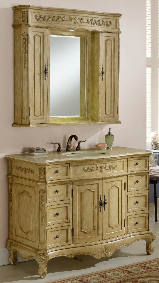 Lovely 48in Cortina Creme Vanity | Vanity with Hutch | Antique White Vanity YU98