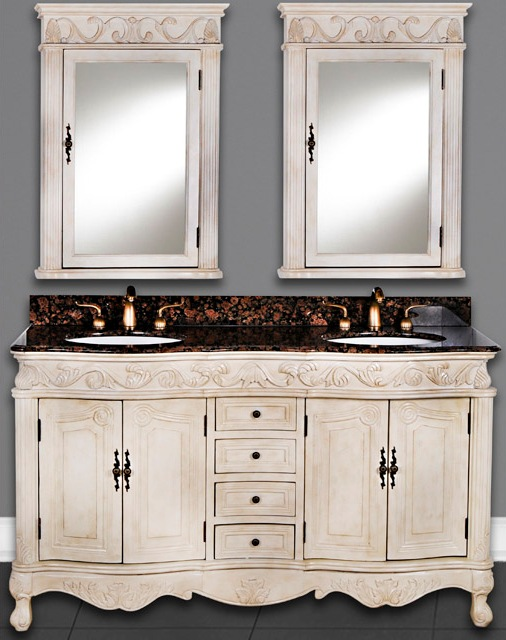 Double Sink Antique White Vanity, Light Brown or Dark Brown Wood Finish -  60