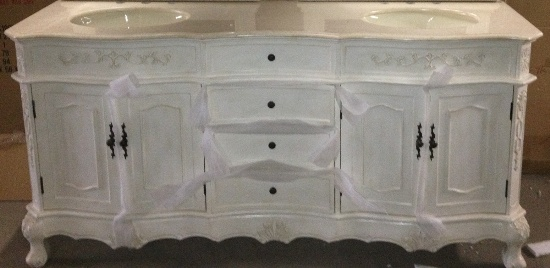 - 73-Inch Cortina Vanity Double Sink Vanity Antique White Vanity