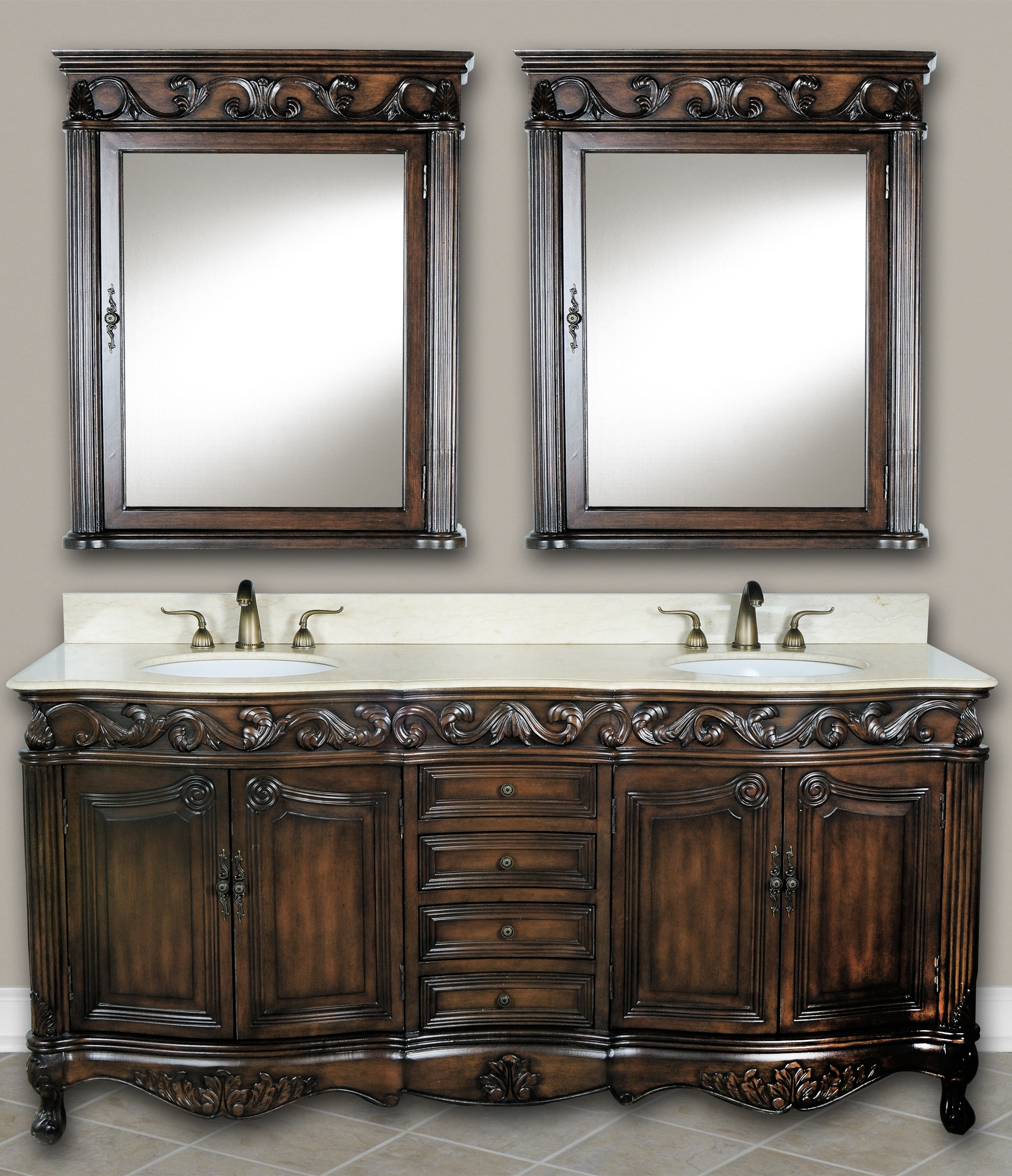 73 Inch Mayfield Vanity Double Sink Vanity Antique White Vanity