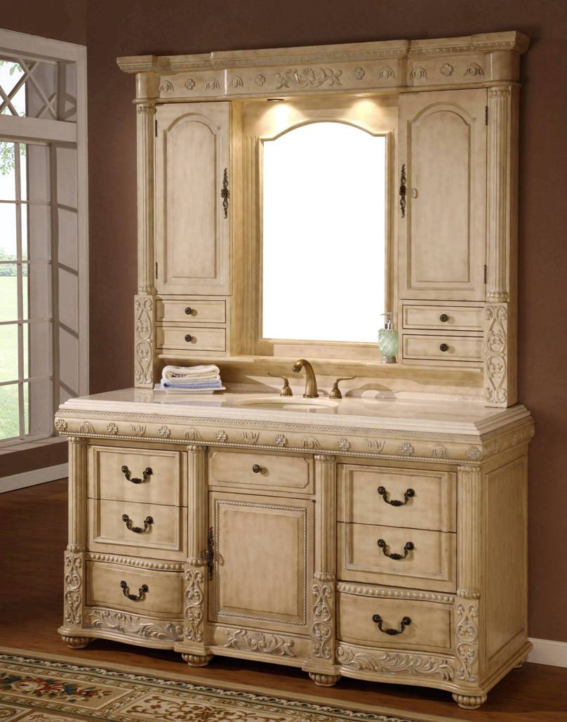 64 inch genesis vanity single sink vanity vanity with hutch - Double sink bathroom vanity with hutch ...