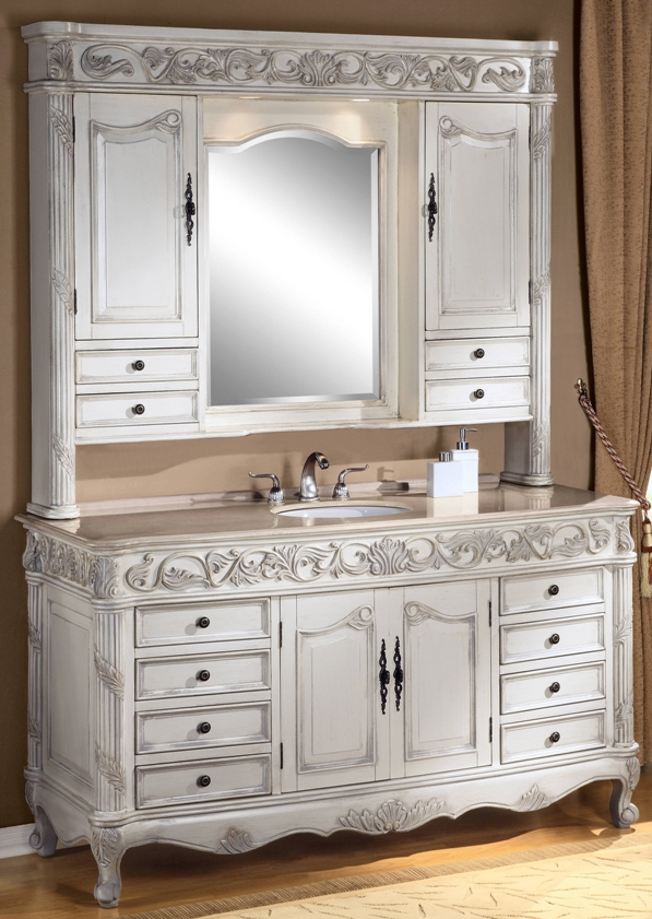 64Inch Darwin Vanity | Single Sink Vanity | Antique Ivory ...