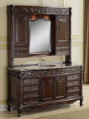 Vintage Bathroom Antique Reproduction Sink Vanity Chest with Mirrored Wall Hutch