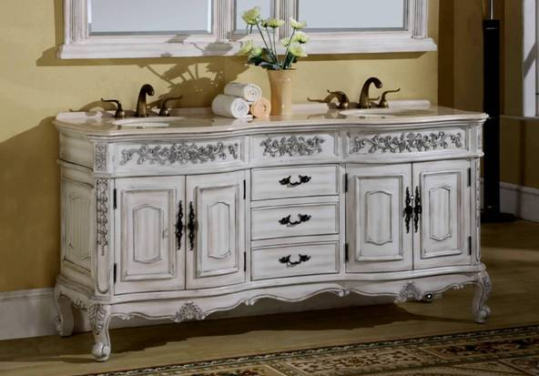 72 inch maria vanity double sink vanity antique white for Antique white double sink bathroom vanities