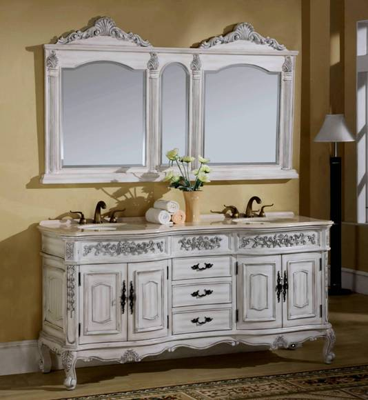 72-Inch Maria Vanity | Double Sink Vanity | Antique White